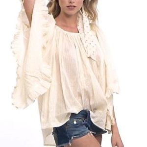 Lotta Stenson  Cotton Gypsy Ruffle Blouse NWT